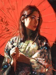Michiko II (With a Red Parasol) by Fabian Perez -  sized 9x12 inches. Available from Whitewall Galleries